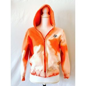 Upcycled bleach dye orange soccer hoodie